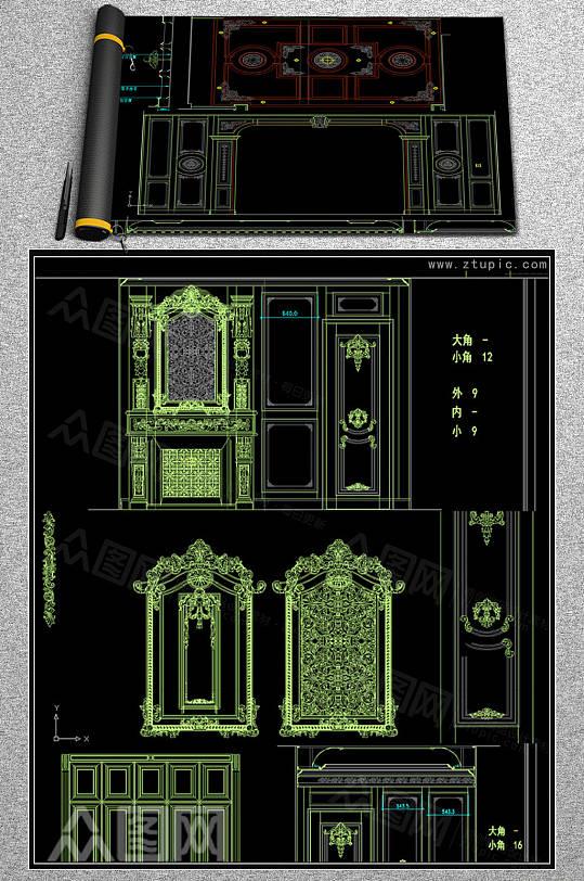 豪华欧式家装护墙板设计图纸CAD素材-众图网
