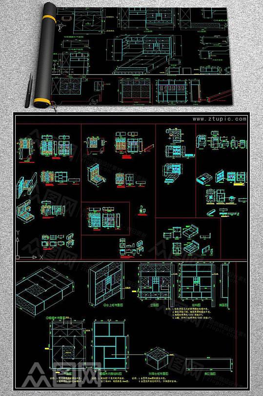 榻榻米大样节点详图CAD素材图库-众图网