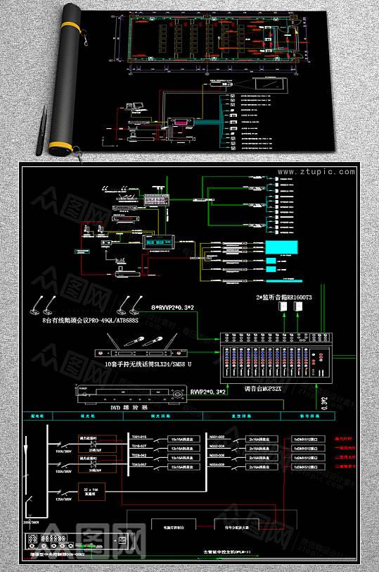 学校报告厅影音室会议室系统弱电CAD素材-众图网