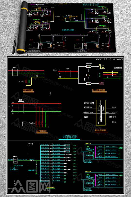 专业小区弱电智能化项目图纸CAD素材-众图网