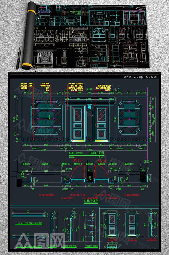 博古架装饰柜设计CAD素材-众图网