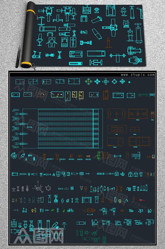 健身器材跑步机CAD素材图库-众图网