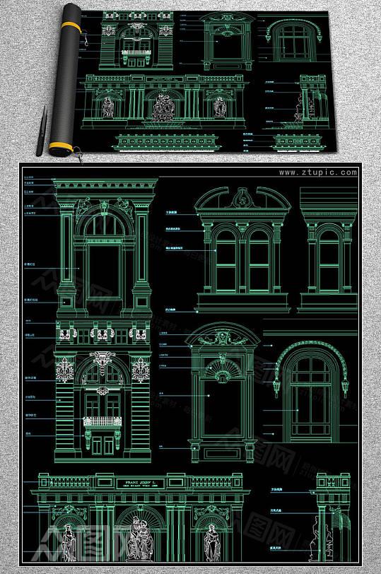 欧式建筑背景立面图cad图库-众图网