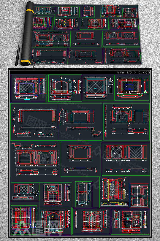 背景墙详图图集CAD素材-众图网