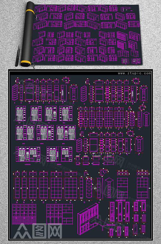 衣柜设计节点详图CAD素材图库-众图网