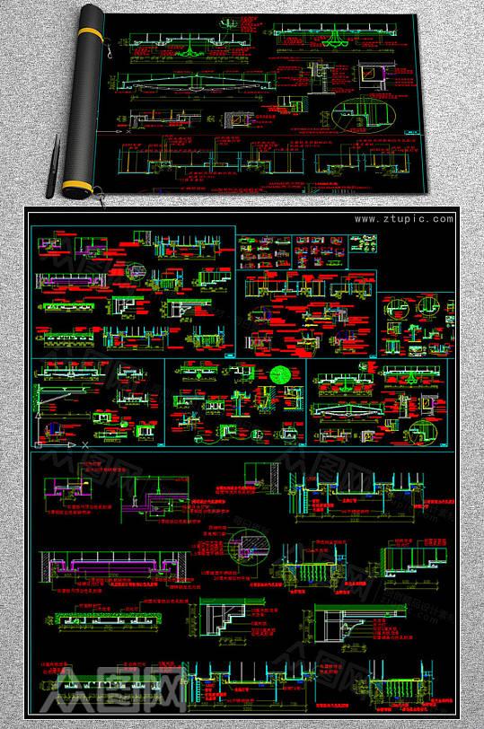 天花吊顶设计大样节点详图CAD素材图库-众图网