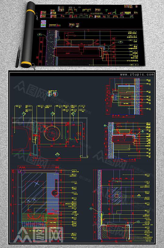 卫生间洗手台洗手盆剖面图立面图CAD素材-众图网