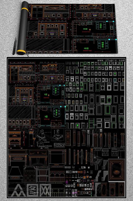厨房橱柜设计CAD素材图库-众图网