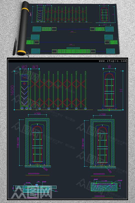 伸缩门设计CAD素材-众图网