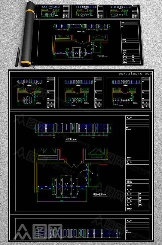 出入口系统人行道闸弱电智能化CAD素材-众图网