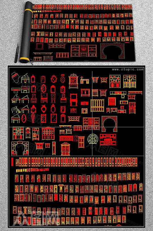 中式博古架木门屏风家具CAD素材图库-众图网