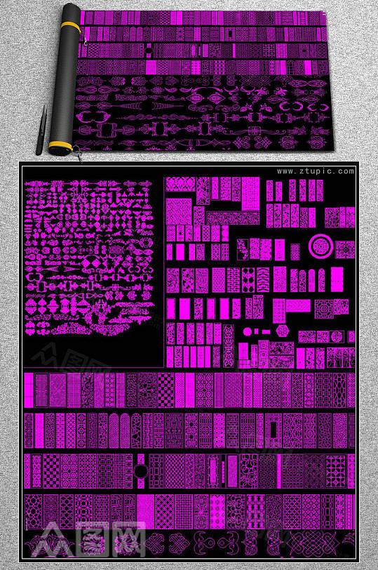 中式屏风隔断雕花浮雕CAD素材图库-众图网