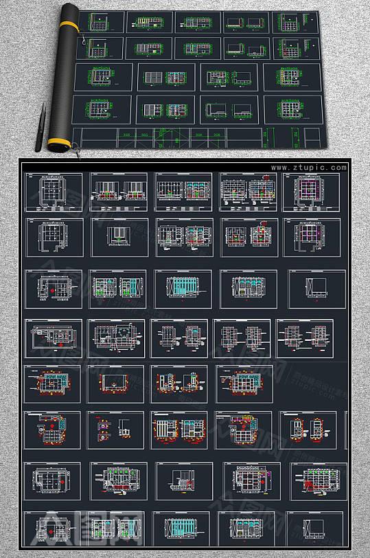榻榻米板式床设计CAD素材-众图网