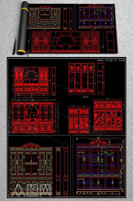 整木家居传统中式家具设计cad素材图库-众图网