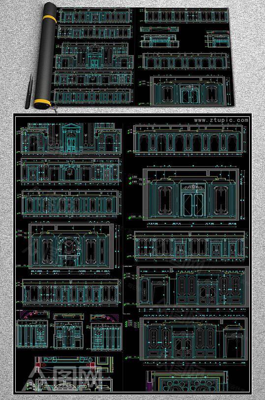 法式立面图背景墙设计CAD图库-众图网