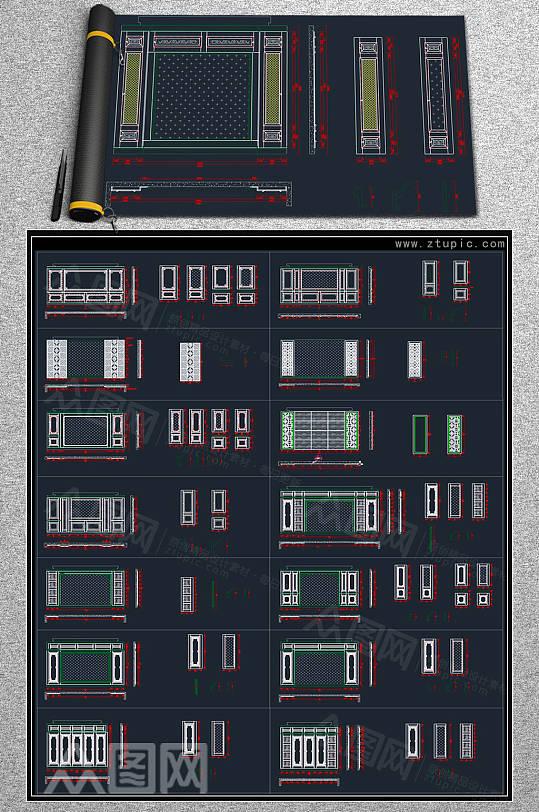 整木定制新中式背景墙CAD素材-众图网