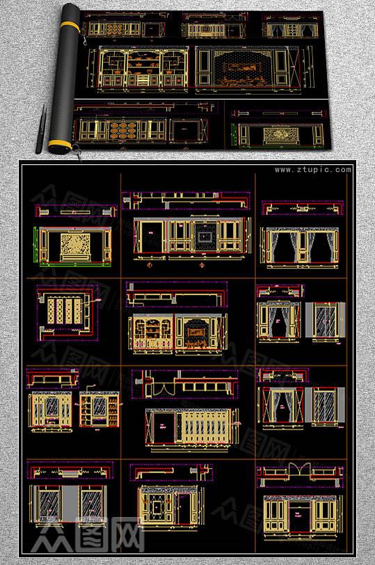 豪华中式护墙板背景墙设计CAD素材图库-众图网
