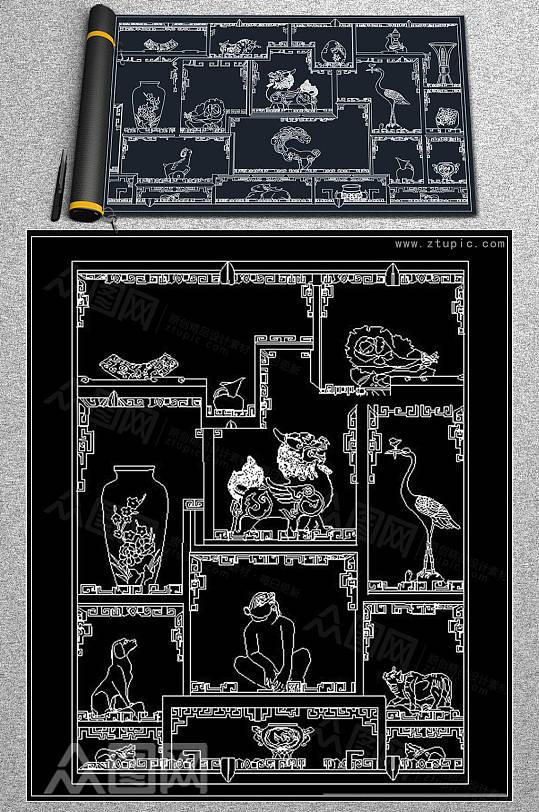 博古架装饰品柜CAD素材-众图网