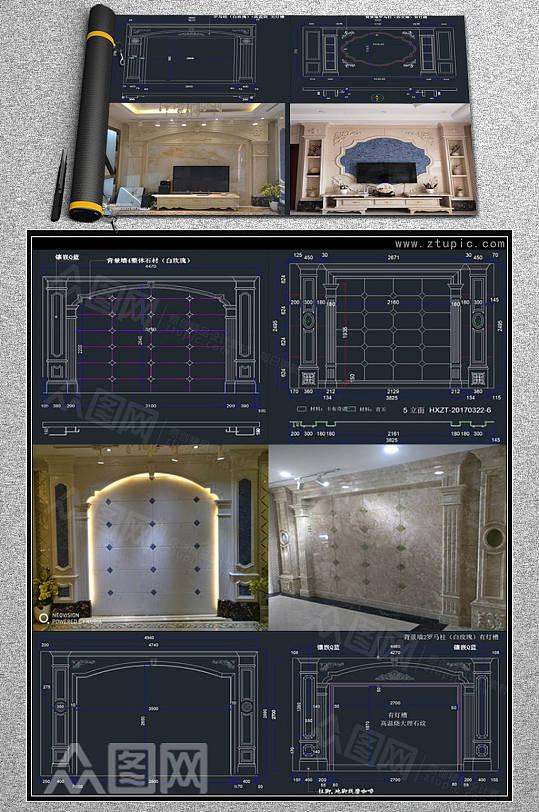 石材罗马柱背景墙CAD素材-众图网