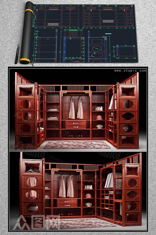 组合衣柜u型实木衣柜设计CAD素材-众图网