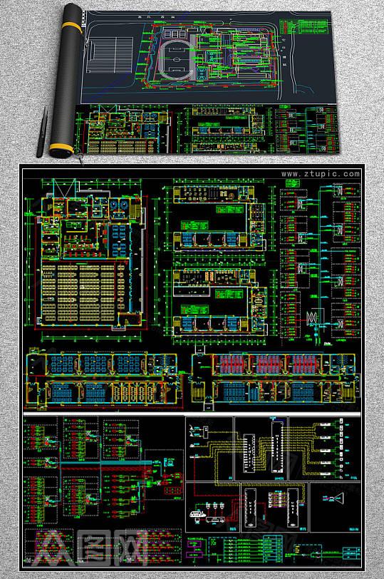 教学楼弱电系统施工图CAD素材-众图网