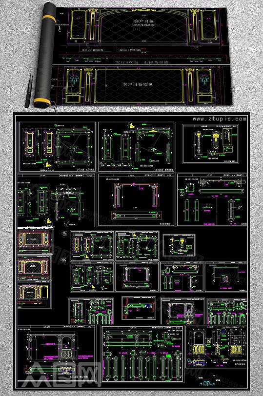 欧式护墙板影视墙深化下单图纸CAD素材-众图网