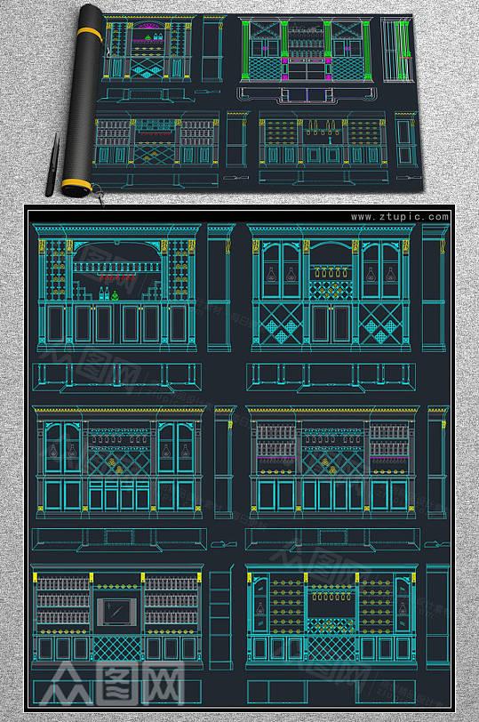 整木家居酒柜酒店吧台现代欧式CAD素材-众图网