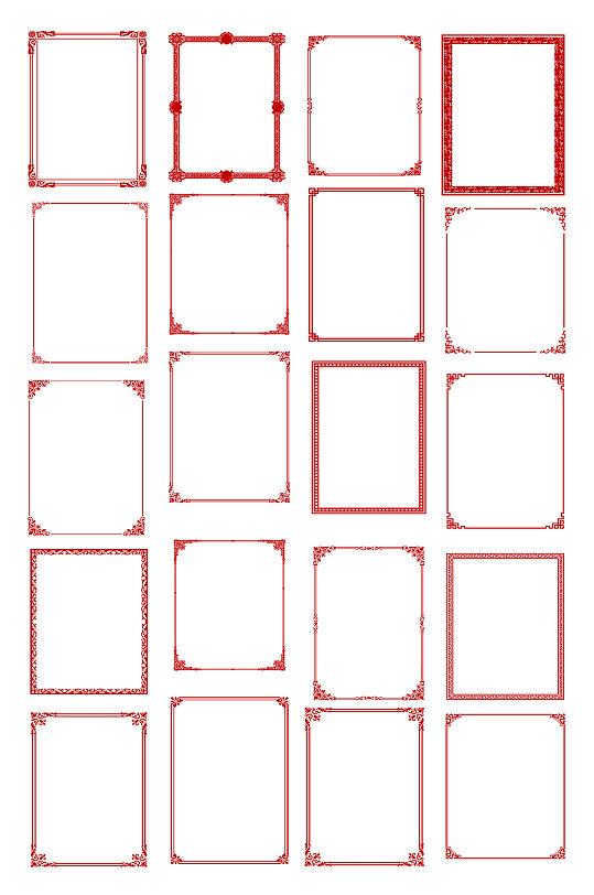古典花纹边框相框底纹矢量图元素AI素材