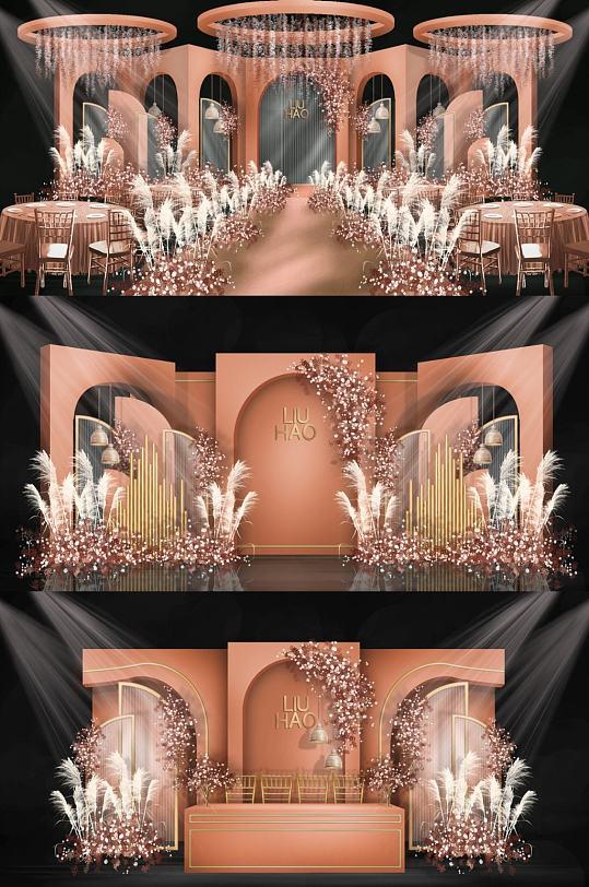 婚礼背景金色婚礼效果图-众图网