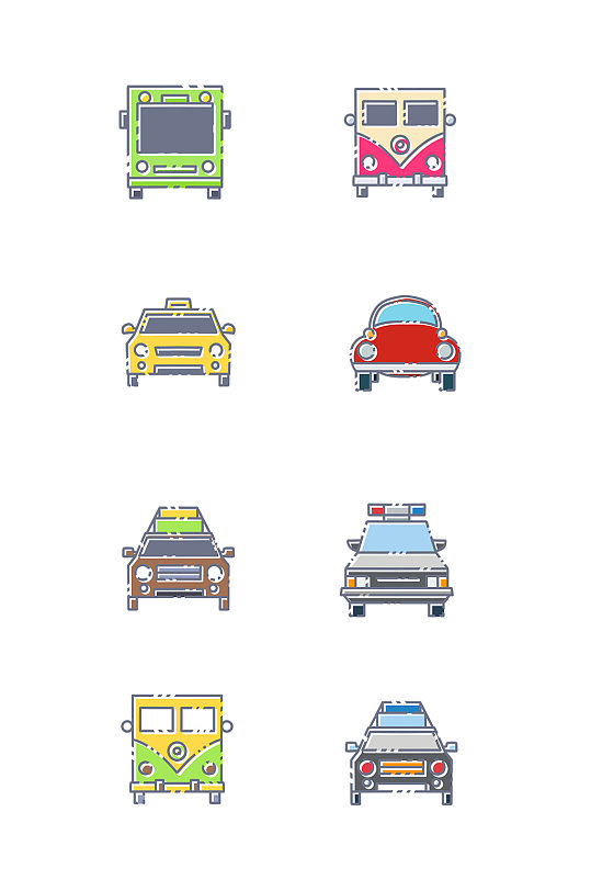 各种汽车车头插画图标-众图网