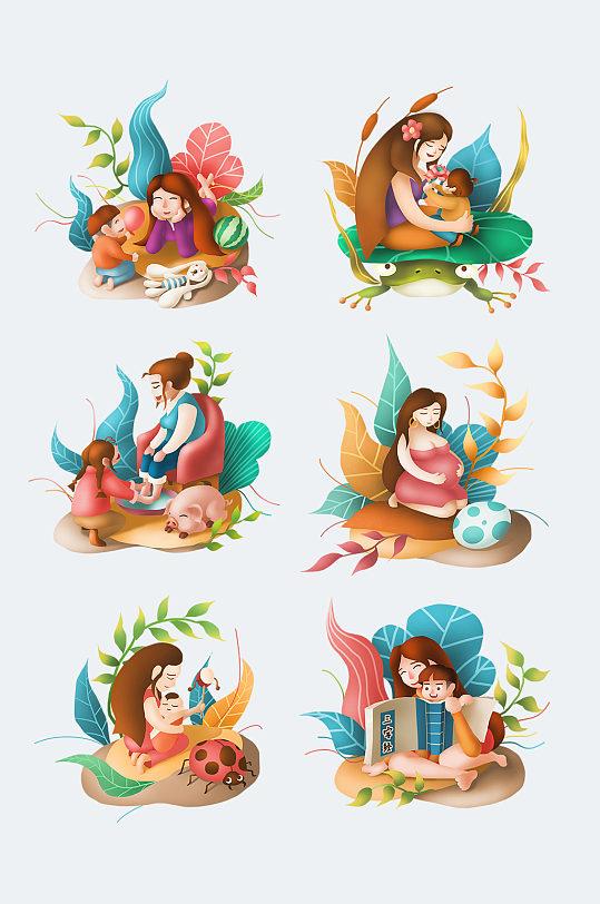 高清卡通陪孩子的母亲 母亲节素材元素-众图网