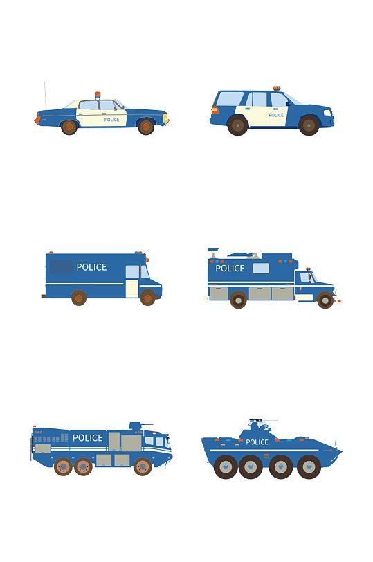 简约扁平卡通法制宣传日警车矢量元素-众图网