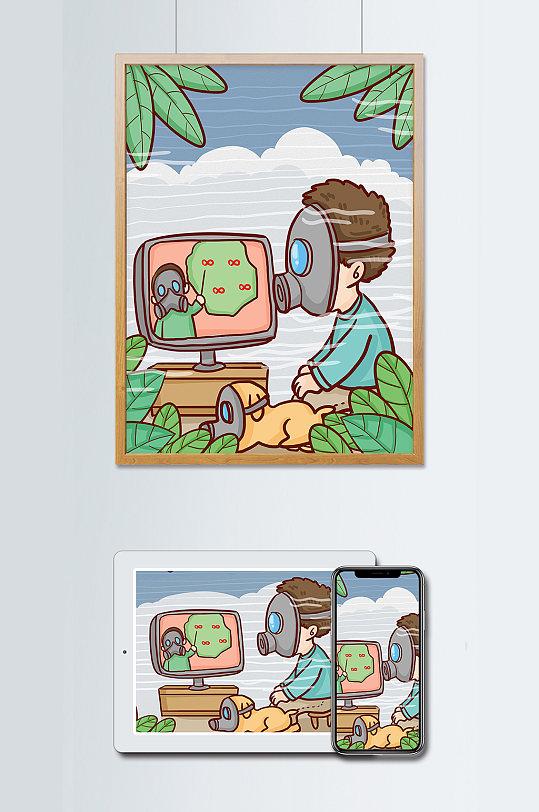世界环境日人们戴防毒面具度过雾霾日子插画-众图网