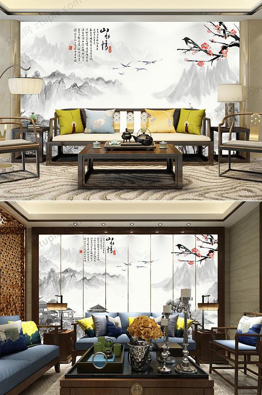 中国风水墨梅山水背景墙-众图网