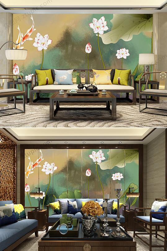 中式水墨荷花背景墙-众图网