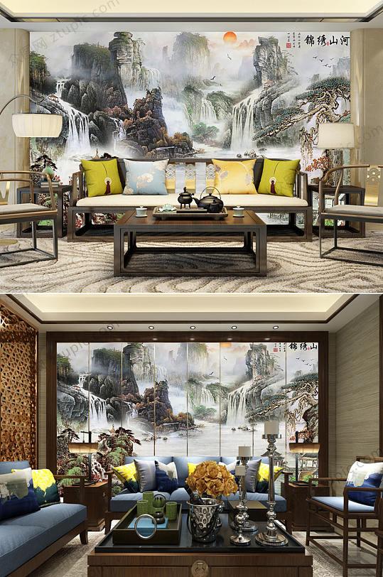 古典水墨山背景墙-众图网