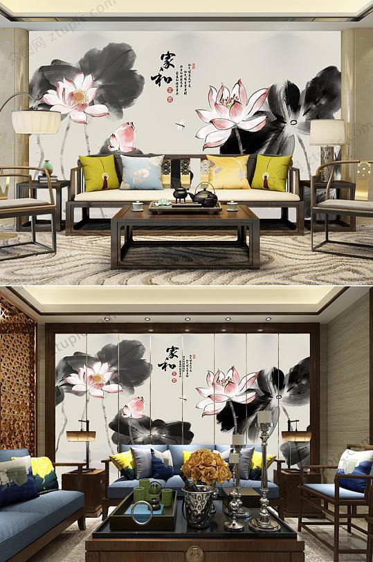 家和富贵水墨室内背景墙-众图网