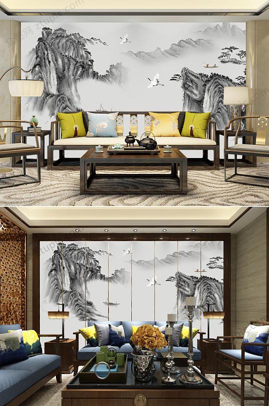 水墨山高端背景墙-众图网