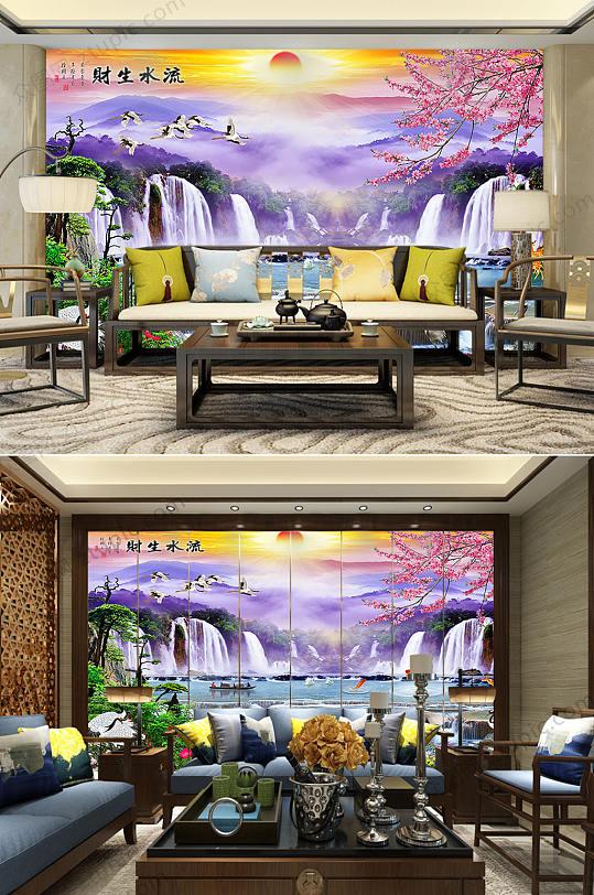 紫色高清风景背景墙-众图网