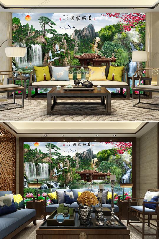 美好家园风景背景墙-众图网