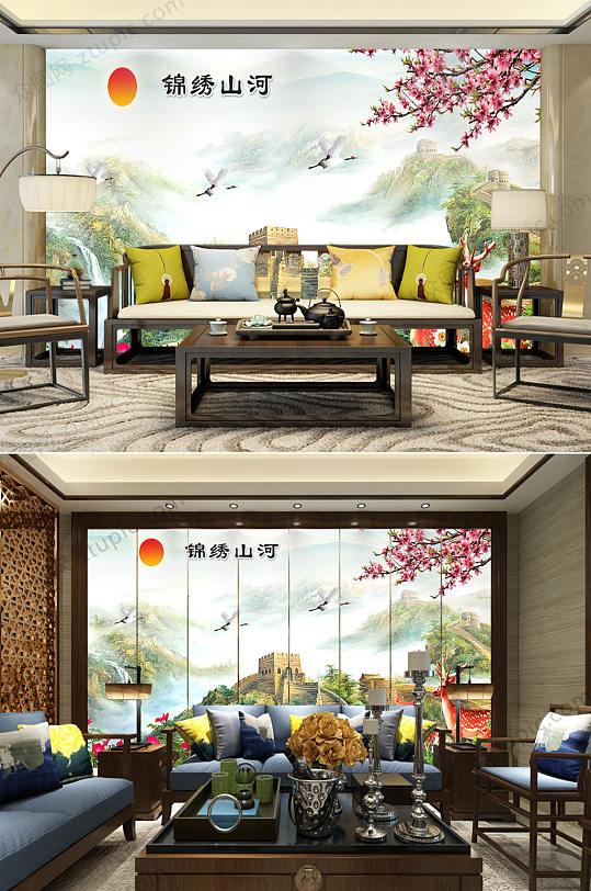 锦绣山河风景背景墙-众图网