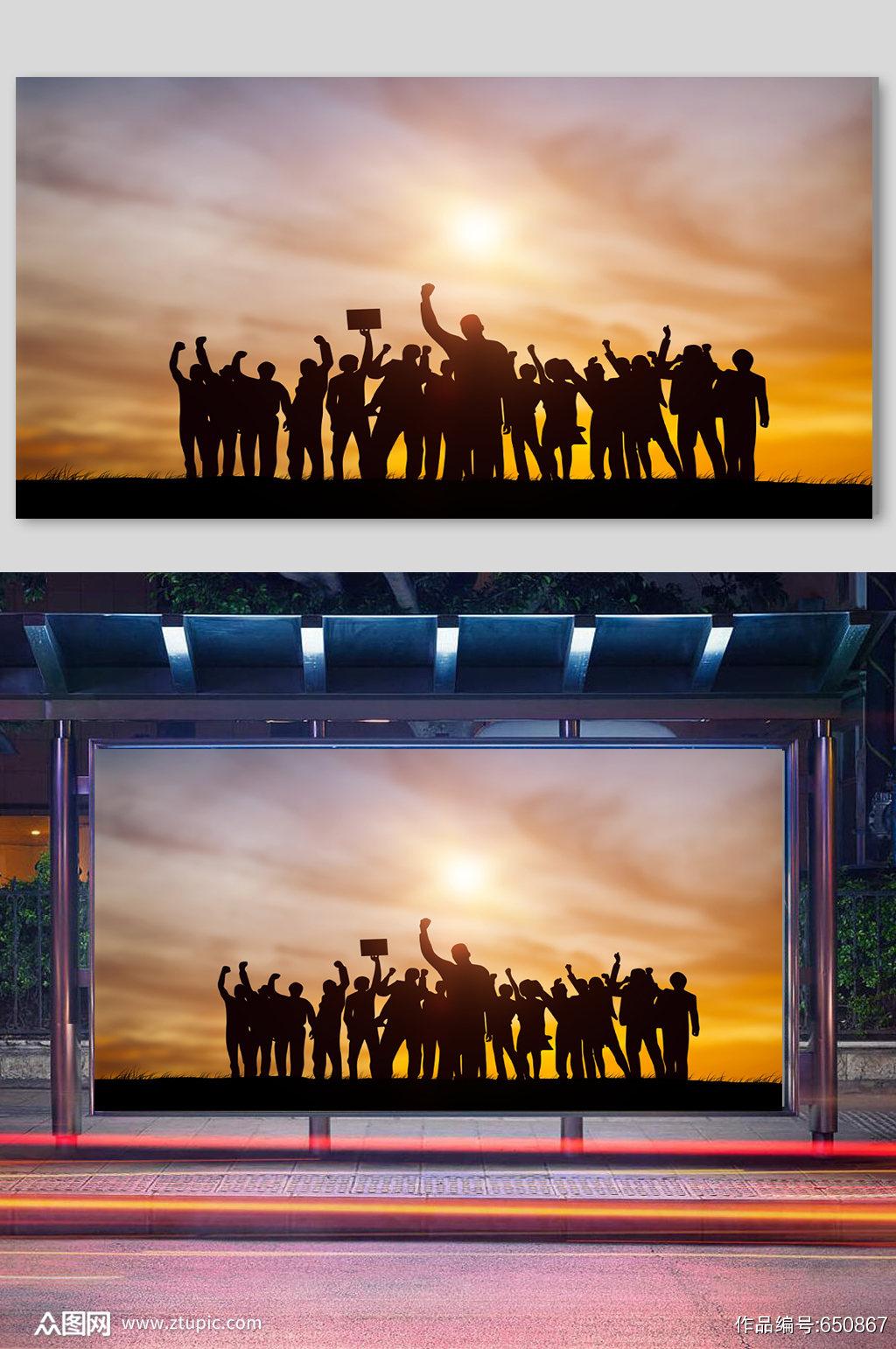 办公人物剪影企业商务商业背景活动剪影展板素材