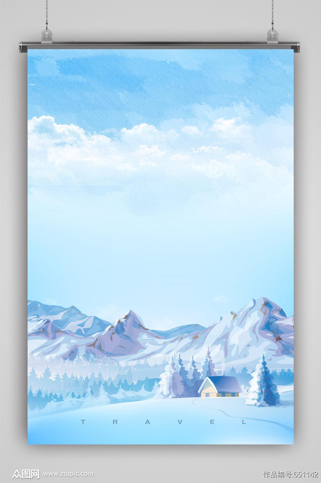 蓝天草地白云简洁背景素材