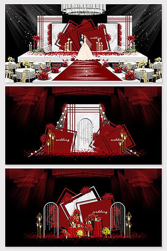 雅复古宫墙样式婚礼效果图-众图网