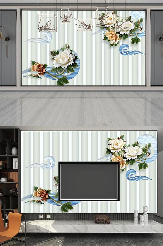 手绘彩色 电视背景墙-众图网