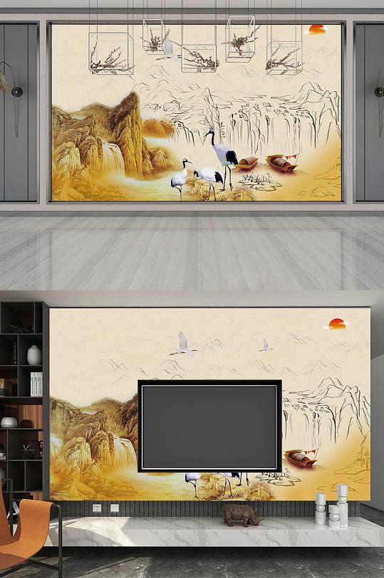 中国风山水 装修背景墙-众图网