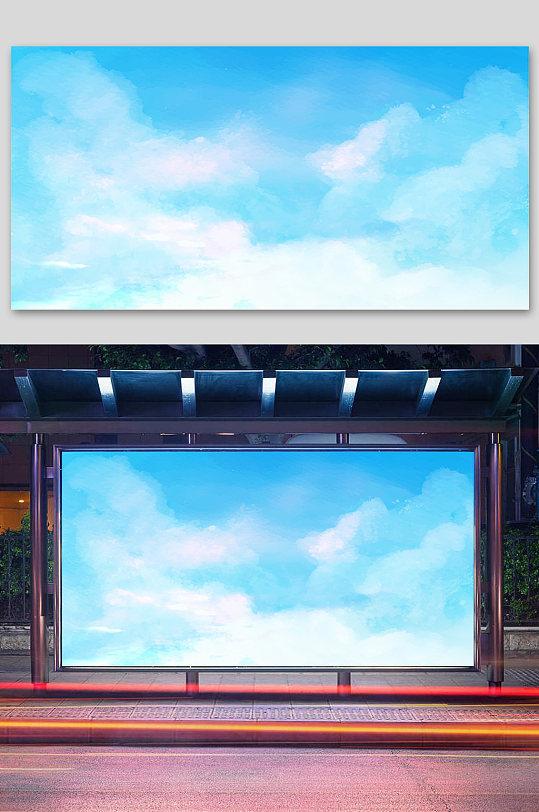蓝天白云展板唯美天空背景素材