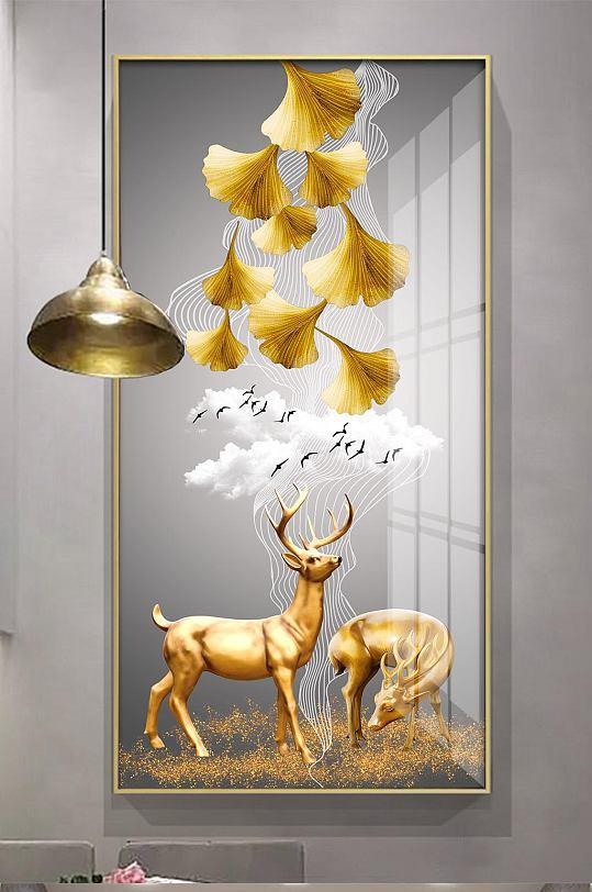 麋鹿轻奢银杏叶装饰画-众图网