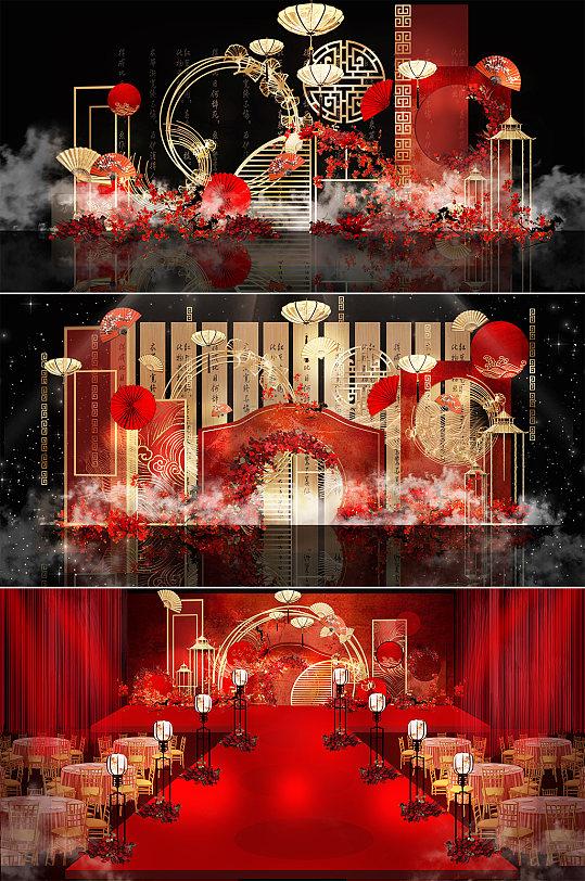 寿宴 江南风中国风红色高端婚礼效果图布置