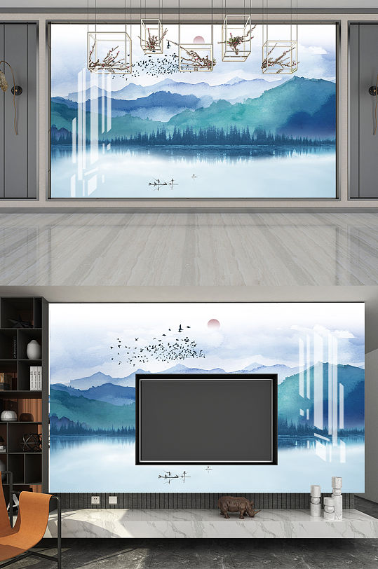 室内山水电视背景-众图网